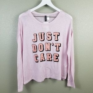 "H&M Pink Knit ""Just Don't Care"" Sweater Large NWT"
